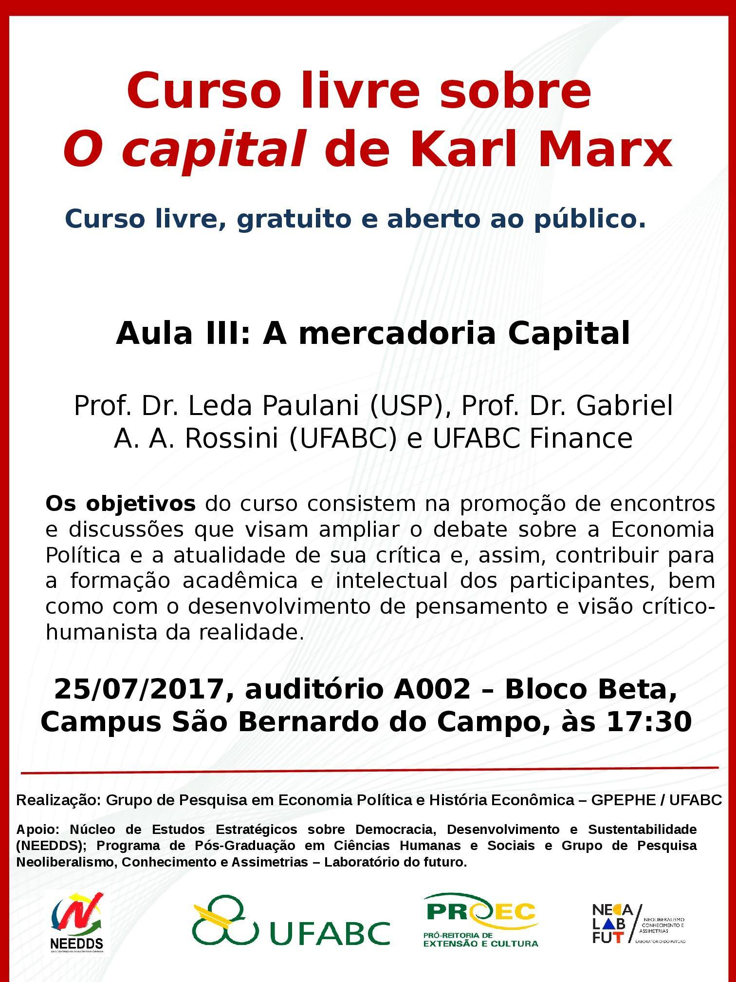 Cartaz O CAPITAL AULA III A mercadoria Capital
